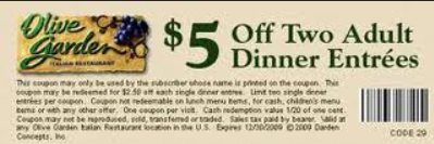 Olive Garden Coupons 2015