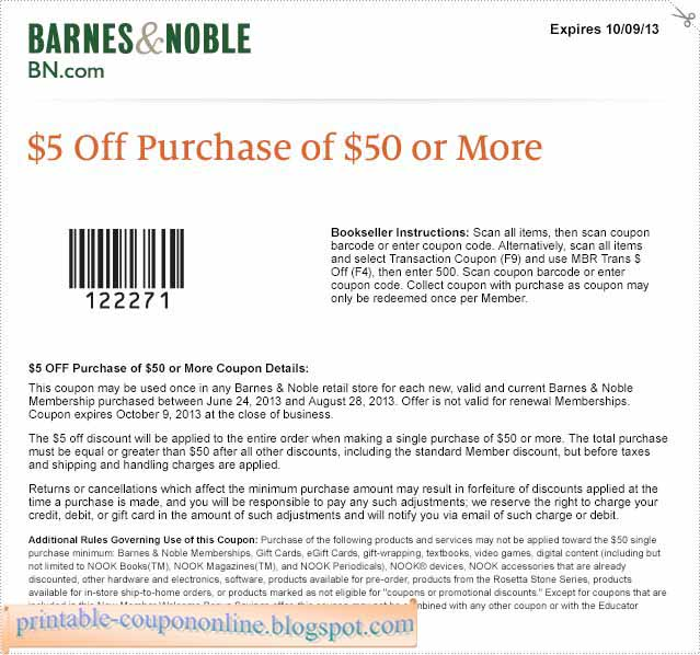 Barnes And Noble Printable Coupons March 2013